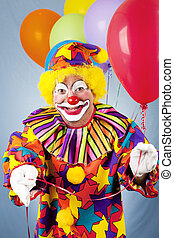 Clown Offering Balloon - Clown with a bunch of helium...