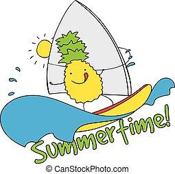 Pineapple windsurfing summertime vector illustration.