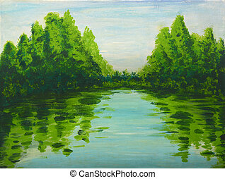 Lake in the woods painting