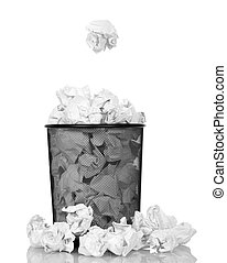 Metallic black trash from paper isolated on white background...