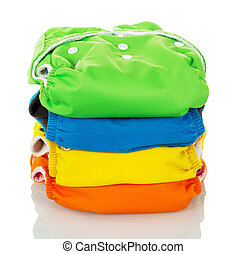 Cloth diapers environmentally friendly isolated on white. -...