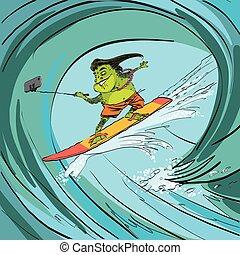 Surfer frog selfie wave line art Water sports Frog extreme