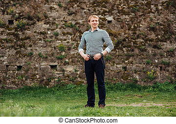 Handsome caucasian young man in casual clothes