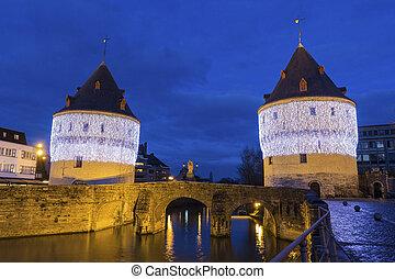 Broel Towers in Kortrijk in Belgium - Broel Towers along the...