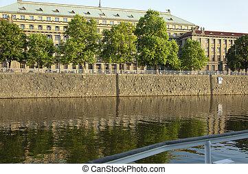 The Embankment of the Vltava River in Prague