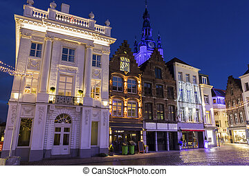 Grote Mark with St Martins Church in Kortrijk in Belgium -...