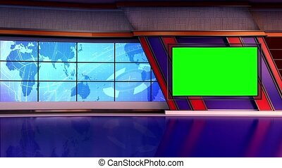 News TV Studio Set- - News TV Studio Set 151-Virtual Green...