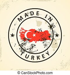 Stamp with map flag of Turkey