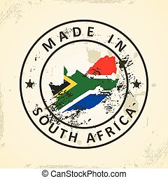 Stamp with map flag of South Africa