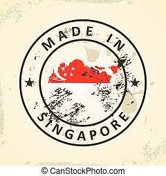 Stamp with map flag of Singapore