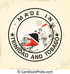Trinidad and Tobago - Grunge stamp with map flag of Trinidad...