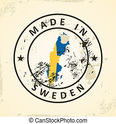 Stamp with map flag of Sweden
