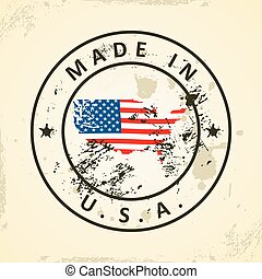 Stamp with map flag of USA - Grunge stamp with map flag of...