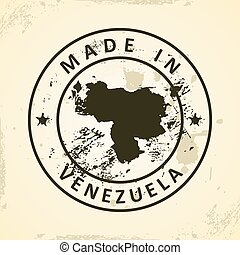 Stamp with map of Venezuela - Grunge stamp with map of...