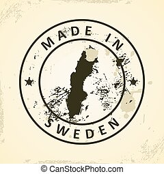 Stamp with map of Sweden