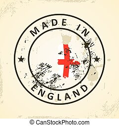 Stamp with map flag of England