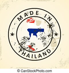 Stamp with map flag of Thailand