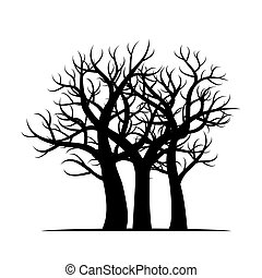Group of black Trees. Vector Illustration.