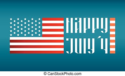 Happy July 4 traditional lettering with US flag