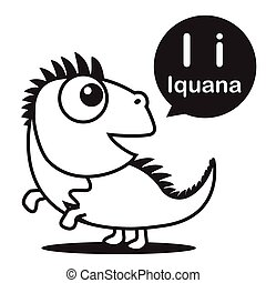 I Iguana cartoon and alphabet for children to learning and coloring page vector illustration eps10