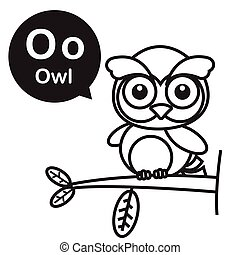 O Owl cartoon and alphabet for children to learning and coloring page vector illustration eps10