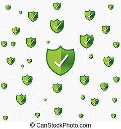 Safty shield securty network connection vector illustration...