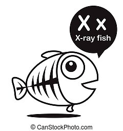 X X-ray fish cartoon and alphabet for children to learning and coloring page vector illustration eps10