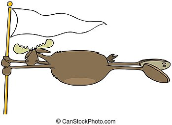 Moose blowing in the wind - Illustration of a bull moose...