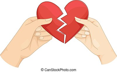 Couple Hands Heart Broken - Illustration of a Couple Tearing...