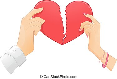 Couple Hands Heart Torn - Illustration of a Couple Ripping a...