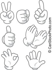 Hand Mascot Signs - Mascot Illustration Featuring Different...