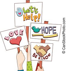 Hand Placards Love Hope Help - Illustration of People...