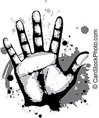 Hand Print Grunge - Grungy Illustration Featuring a Hand...