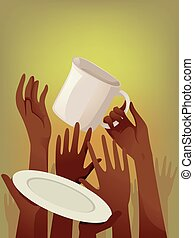 Hands Food Shortage - Illustration of Starving People Asking...