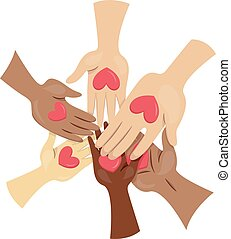 Hands Hearts Volunteers - Illustration of People Joining...