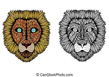Set of Tiger face Hand Drawn doodle art illustration...