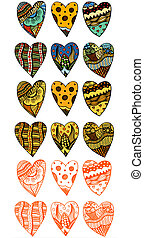 Hand drawn hearts - Set of art color and monochrome Hand...
