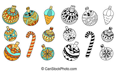 Christmas toys - Christmas tree toys, doodle style, isolated...