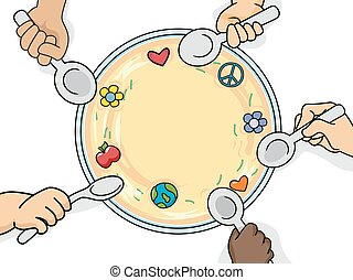Hands Young Food - Illustration of Kids Sharing a Bowl of...