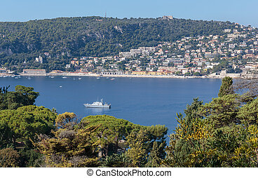 view of the coast of the French Riviera near Nice