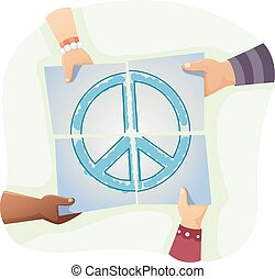Young Hands Peace - Illustration of Kids Solving a Jigsaw...