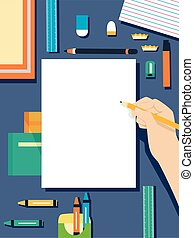 Hand Paper Art Supplies Flat - Flat Illustration Featuring a...