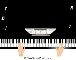 Hands Grand Piano - Illustration of a Man Using a Grand...