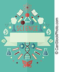 Ciencia, cartel, diseño, plano