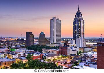 Mobile Alabama Skyline - Mobile, Alabama, USA downtown...