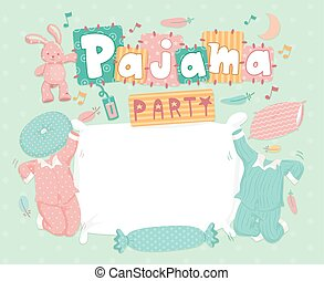 Pajama Party Frame - Typography Illustration for a Pajama...