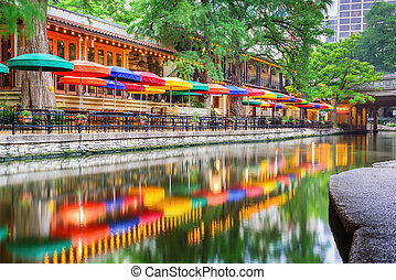 San Antonio Riverwalk - San Antonio, Texas, USA cityscape at...