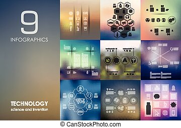 technology infographic with unfocused background -...
