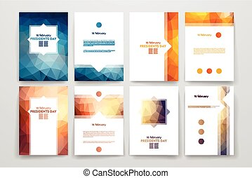 Set of brochures in poligonal style on Presidents Day theme