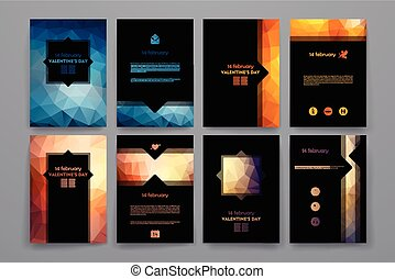 Set of brochures in poligonal style on Valentinersquo;s Day...